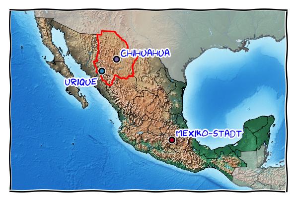 Karte mit Mexiko-Stadt, Chihuahua, und Urique