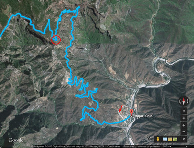 Karte mit den Serpentinen zu Urique