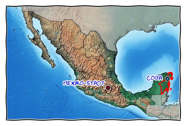 Karte mit Mexiko-Stadt und Cobá