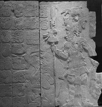 Hieroglyphen und Maya Monument