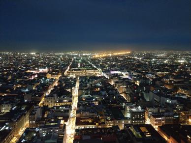 Aussicht bei Nacht Richtung Zócalo.