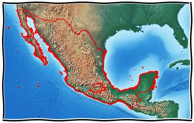 Mexiko mit den Umrissen der Schweiz.