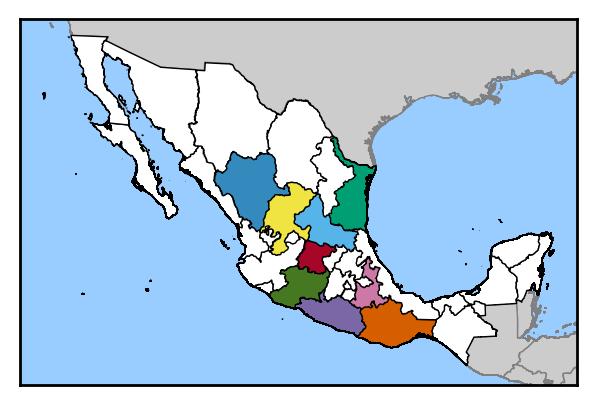 Mexikanische Bundesstaaten, die Mezcal produzieren dürfen.