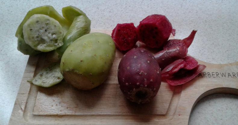 Rote und grüne Tunas ganz und geschält.