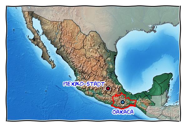 Karte mit Mexiko-Stadt und Oaxaca