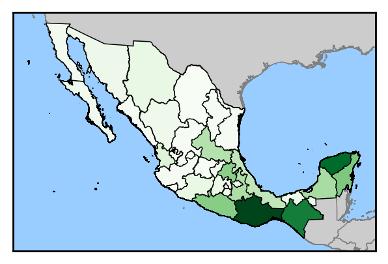 Einheimische Sprache, in Prozent, auf Landeskarte.